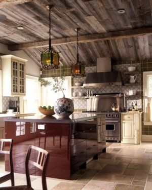 02-brown-rustic-kitchen elle decor