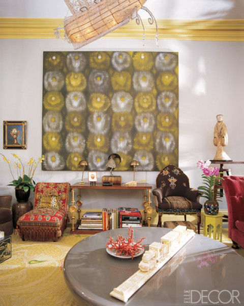 Yellow grey elle decor
